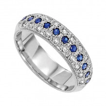 Lieberfarb Platinum Sapphire & Diamond Wedding Band - LD71655