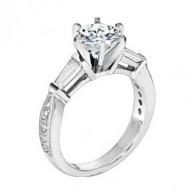 Lieberfarb Platinum Designs Sidestone Engagement Ring - ED70864