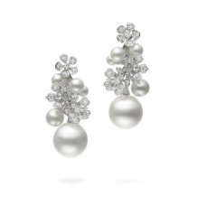 Mikimoto 18k White Gold Bloom Pearl Earrings - MEQ10082ZDXW