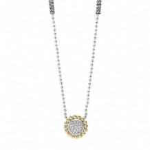 Lagos 18k Gold & Sterling Silver Diamonds & Caviar Beaded Pendant Necklace
