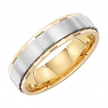 Lieberfarb 14k Gold & Platinum Classic Wedding Band - MT70740