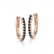 Dana Rebecca 14k Rose Gold DRD Black Diamond Huggies Earrings