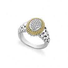 Lagos Sterling Silver 18k Gold Diamond Lux Ring - 02-80599