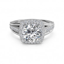 Ritani Masterwork Cushion Halo Vaulted Milgrain Diamond Engagement Ring with Surprise Diamonds - 1R3154