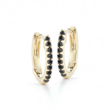 Dana Rebecca 14k Yellow Gold DRD Black Diamond Huggies Earrings - E2142