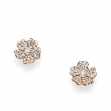Mikimoto 18k Rose Gold Cherry Blossom Diamond Earrings - MEA10280XDXZ
