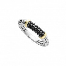 Lagos 18k Yellow Gold & Sterling Silver Black Caviar Stacking Ring