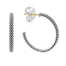 Lagos Caviar Silver Hoop Earrings - 01-81218-S25