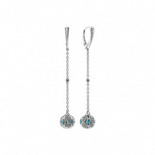 Lagos Sterling Silver Caviar Talisman Gemstone Drop Earrings