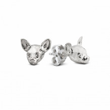 Dog Fever Sterling Silver Chihuahua Snout Earrings - DFORE00008