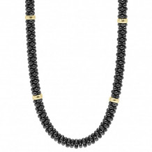 Lagos 18k Gold & Sterling Silver Black Caviar Beaded Necklace - 04-80861