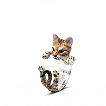 Cat Fever Sterling Silver and Enamel Bengal Hug Ring - CFANESMACLA00008