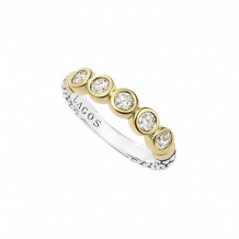 Lagos 18k Yellow Gold & Sterling Silver Signature Caviar Stacking Ring