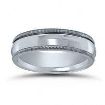 Lieberfarb 14k White Gold Classic Men's Wedding Band - M70523