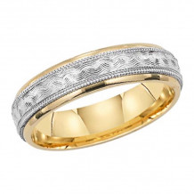 Lieberfarb 14k Gold & Platinum Classic Wedding Band - MT70743
