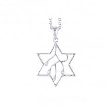 Shema 14k White Gold Star Of David Diamond Necklace - IR2185W