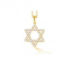 Shema 14k Yellow Gold Star Of David Diamond Necklace - IR2174Y