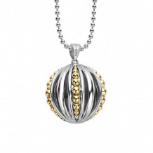 Lagos 18k Gold & Sterling Silver Caviar Talisman Ball Pendant Necklace - 07-81038-B34