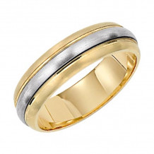 Lieberfarb 14k Gold & Platinum Classic Wedding Band - MT70730