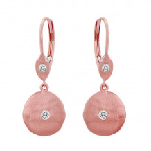 Meira T 14k Rose Gold Hammered Diamond Earrings - 1E5094RG