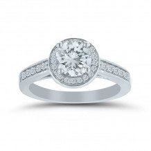 Lieberfarb 14k White Gold Halo Engagement Ring - ED71075