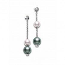 Mikimoto 18k White Gold Pearls in Motion Pearl Earrings - PEL644ABDW