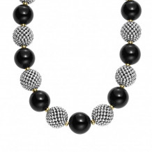 Lagos 18k Gold & Sterling Silver Black Caviar Beaded Necklace - 04-80868-Y18