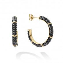 Lagos Caviar 18k Yellow Gold Hoop Earrings - 01-11003-CB