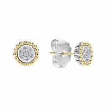 Lagos 18k Yellow Gold & Sterling Silver Caviar Diamond Stud Earrings