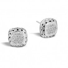 John Hardy Classic Chain Collection Small Square Diamond Earrings - EBP92372DI