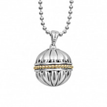 Lagos 18k Gold & Sterling Silver Caviar Talisman Ball Pendant Necklace - 07-81047-B34