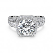 Ritani Masterwork Cushion Halo Triple Diamond Band Engagement Ring with Surprise Diamonds - 1R3156