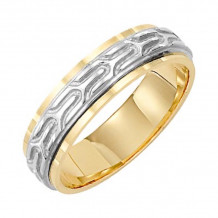 Lieberfarb 14k Gold & Platinum Classic Wedding Band - MT70757