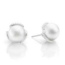 Mikimoto 18k White Gold Embrace Pearl Earrings - MEA10119NDXW