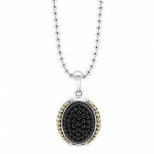 Lagos 18k Gold & Sterling Silver Black Caviar Beaded Pendant Necklace - 07-80816-YML