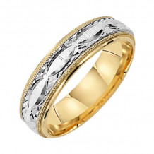 Lieberfarb 14k Gold & Platinum Classic Wedding Band - MT75729