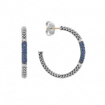 Lagos Sterling Silver Signature Color Sapphire Hoop Earrings - 01-81220