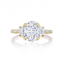 Tacori 18k Yellow Gold RoyalT 3 Stone Engagement Ring - HT2655OV95X75Y