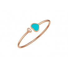 Chopard Happy Hearts Rose Gold Turquoise Bangle Bracelet